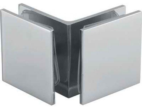 90 degree brass glass to glass bracket